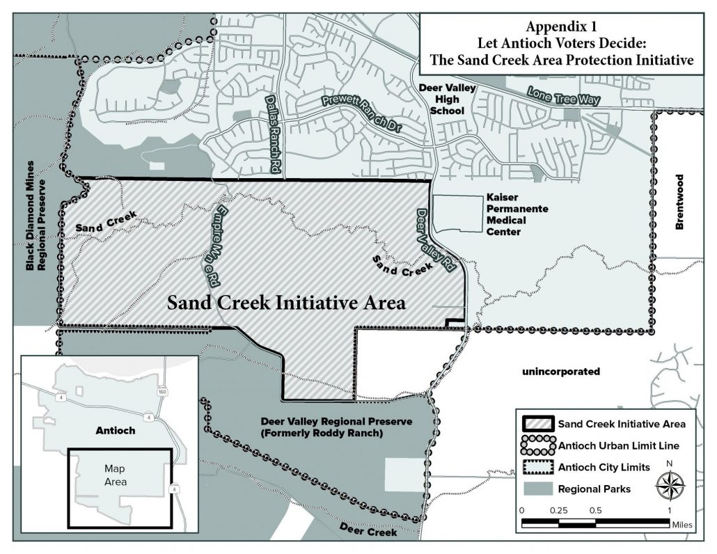 Sand Creek area and surrounding protected lands.