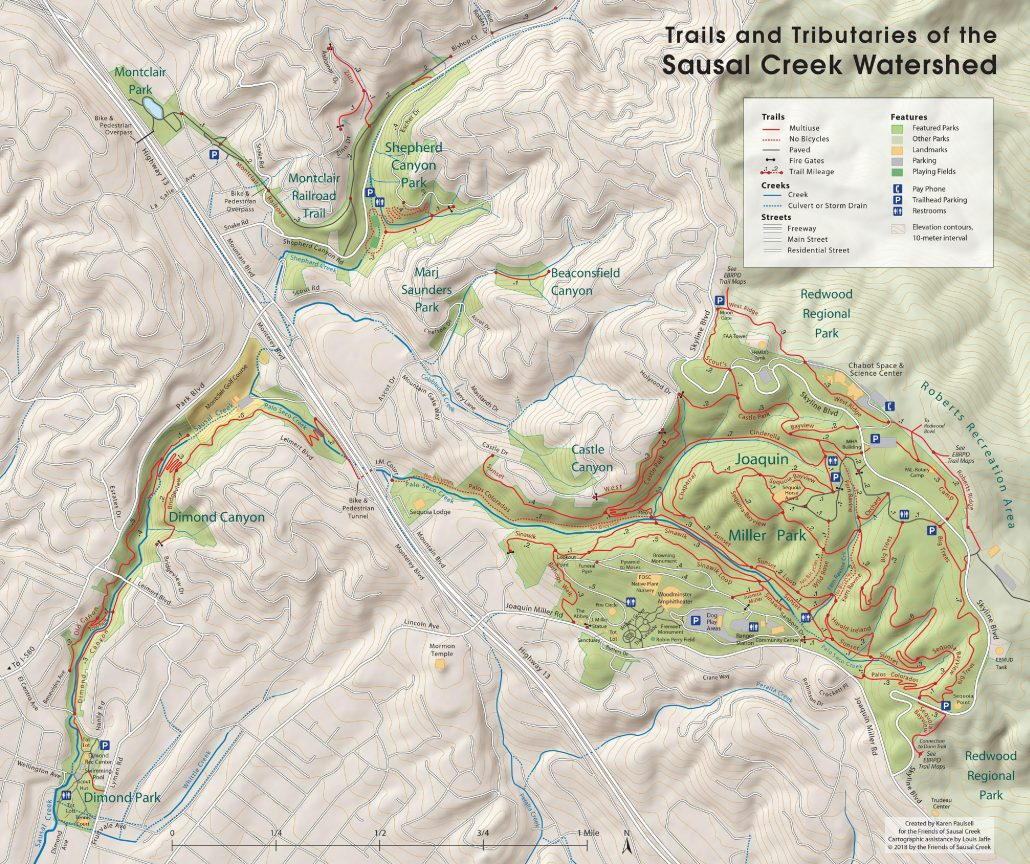 Trails and tributaries of the Sausal Creek watershed.